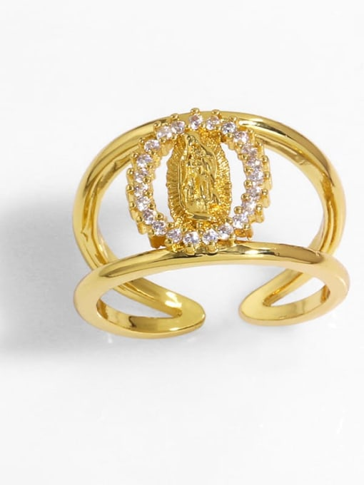 E Brass Cubic Zirconia Heart Vintage Band Ring