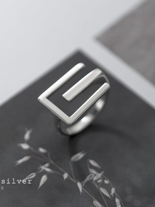 Rosh 925 Sterling Silver Letter Minimalist Band Ring 1