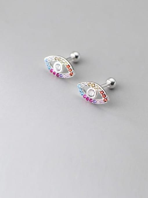 Rosh 925 Sterling Silver Cubic Zirconia Evil Eye Cute Stud Earring 0