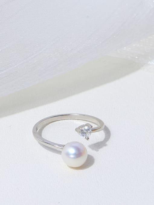 RAIN Brass Freshwater Pearl Round Minimalist Band Ring 2
