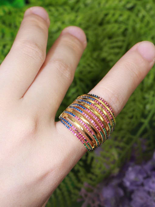 L.WIN Brass Cubic Zirconia Geometric Luxury Stackable Ring 2