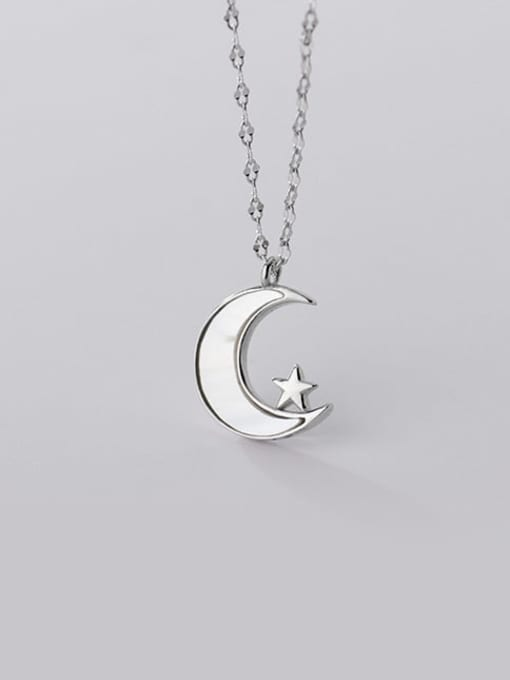 Rosh 925 Sterling Silver Shell Moon Minimalist Pendant Necklace 3