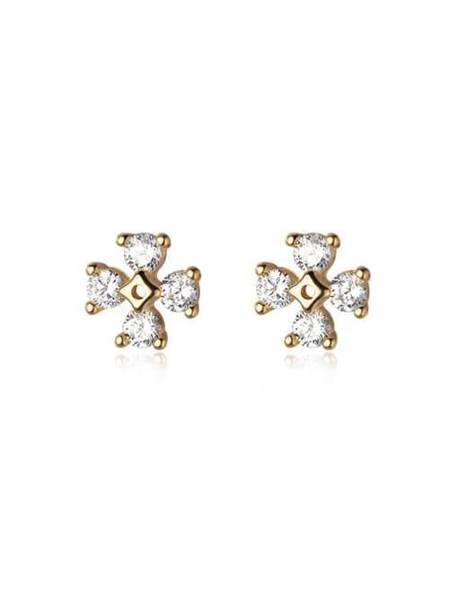 gold 925 Sterling Silver Cubic Zirconia Flower Minimalist Stud Earring