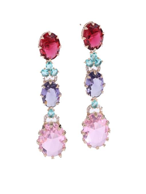 pink Brass Cubic Zirconia Flower Ethnic Drop Earring