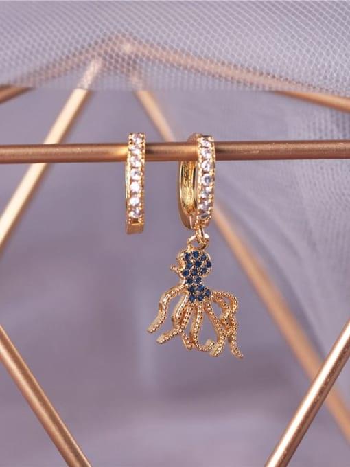 E0793 Brass Cubic Zirconia Octopus Vintage Huggie Earring