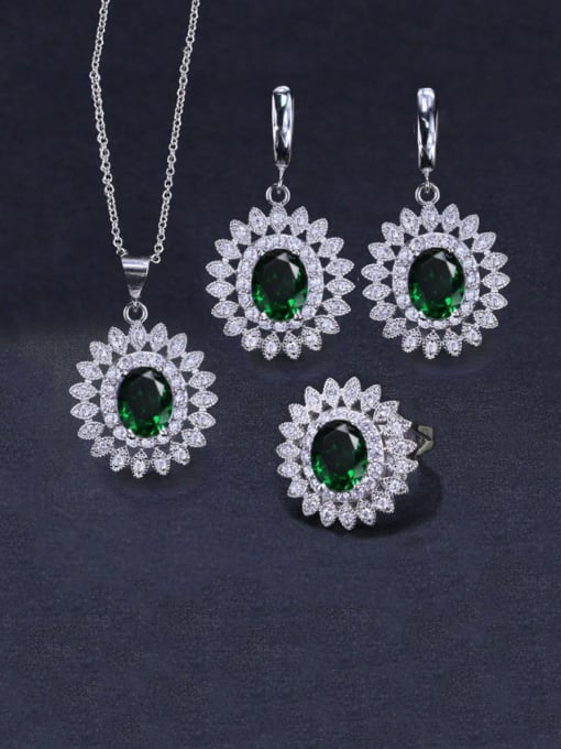 Green Ring Size 9 Brass Cubic Zirconia  Dainty Geometric Earring Ring and Necklace Set