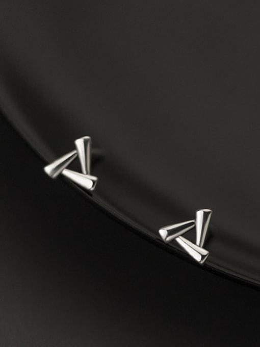 Rosh 925 Sterling Silver Hollow Triangle Minimalist Stud Earring 3