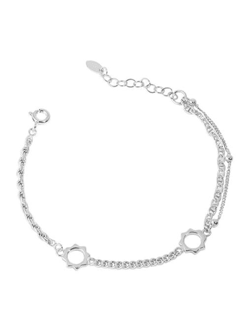 silver 925 Sterling Silver Geometric Vintage Link Bracelet