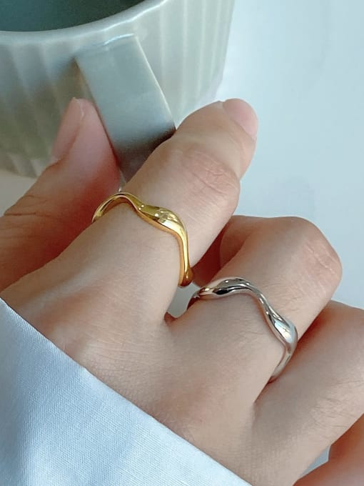 Boomer Cat 925 Sterling Silver Geometric Minimalist Band Ring 1