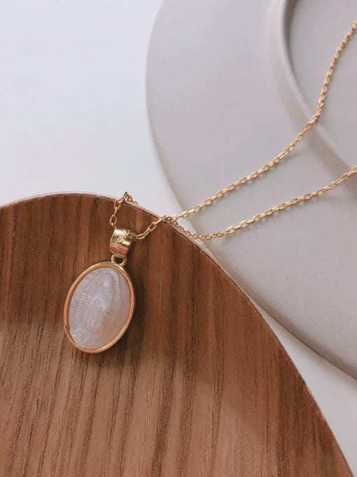 Boomer Cat 925 Sterling Silver Shell Oval Minimalist Necklace 2