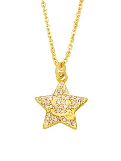B Brass Cubic Zirconia Star Vintage Necklace