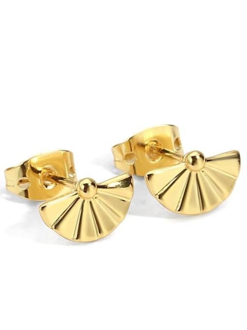 Gold fan Earrings Brass Imitation Pearl Geometric Minimalist Stud Earring
