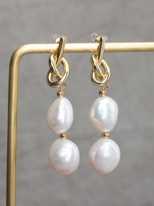 golden Brass Freshwater Pearl Geometric Minimalist Drop Earring