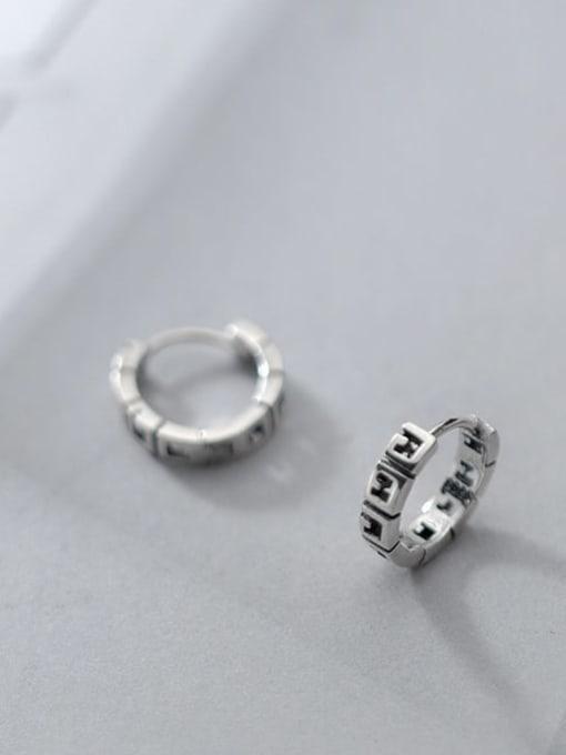 Rosh 925 Sterling Silver Geometric Vintage Huggie Earring