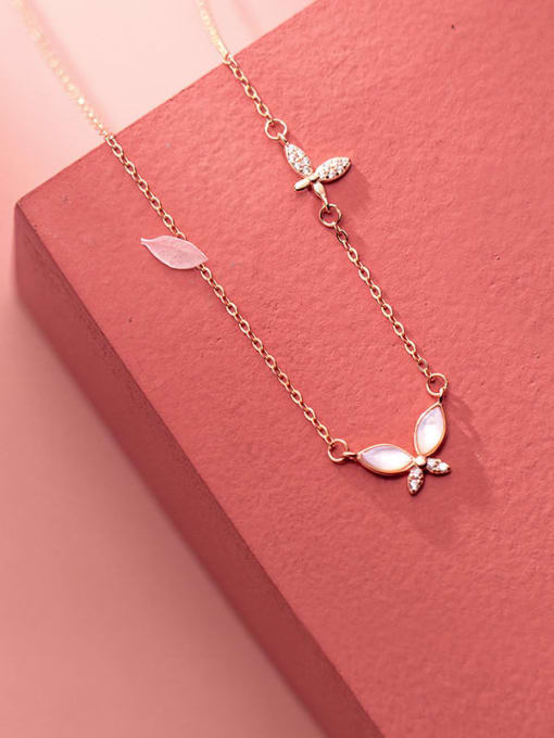 Rosh 925 Sterling Silver Shell Leaf Minimalist Necklace 0