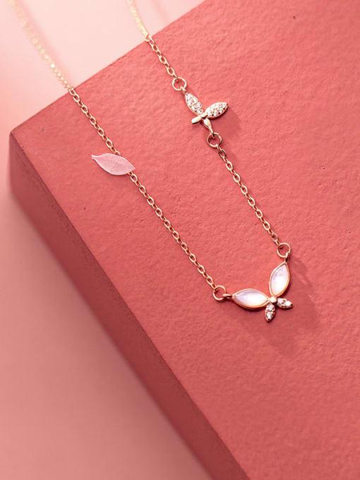 Rosh 925 Sterling Silver Shell Leaf Minimalist Necklace