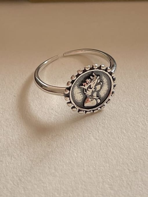 Portrait ring 1593 2.2g 925 Sterling Silver Geometric Vintage Band Ring
