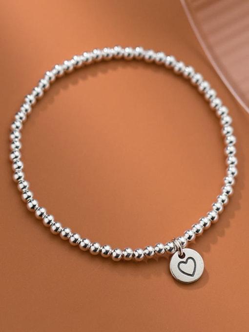 Rosh 925 Sterling Silver Heart Minimalist Beaded Bracelet 1