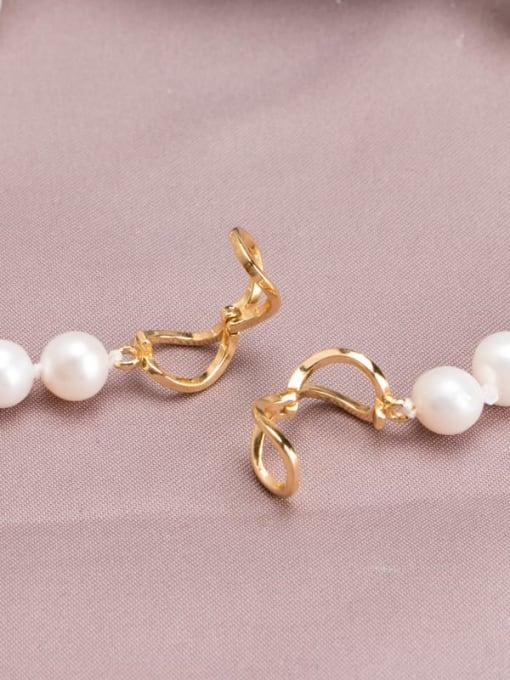RAIN Brass Freshwater Pearl Round Minimalist Long Strand Necklace 4