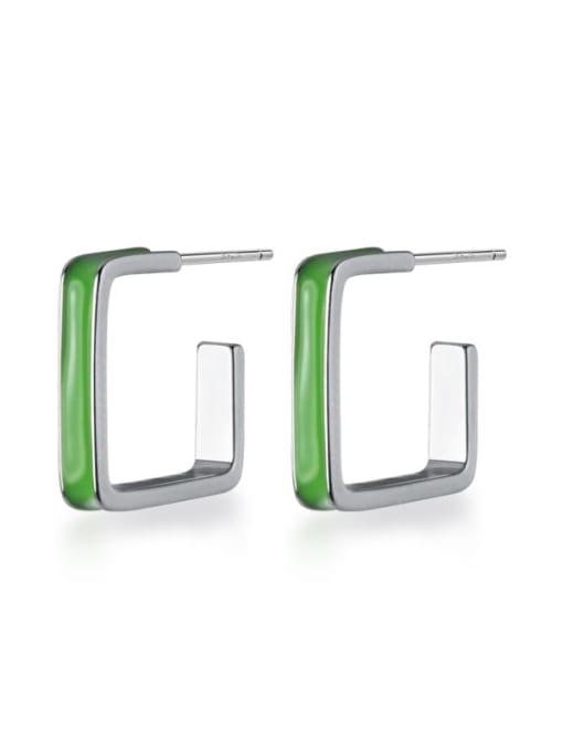 Rosh 925 Sterling Silver Enamel Geometric Minimalist Stud Earring 0