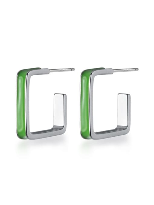 Rosh 925 Sterling Silver Enamel Geometric Minimalist Stud Earring