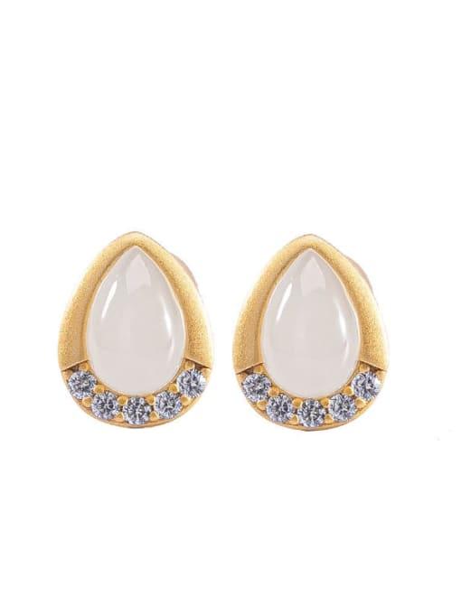 DEER 925 Sterling Silver Jade Water Drop Vintage Stud Earring 4