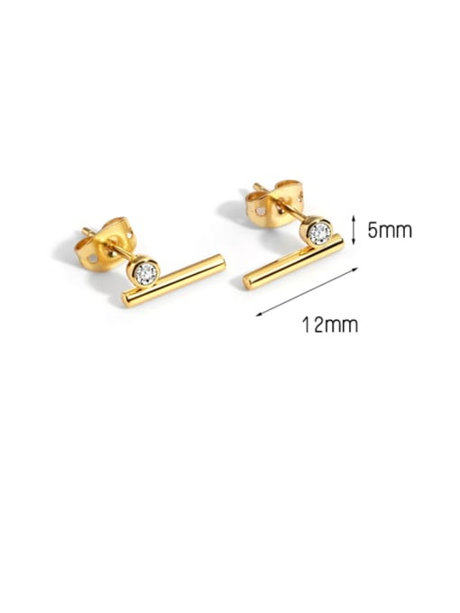 CHARME Brass Rhinestone Geometric Minimalist Stud Earring 4