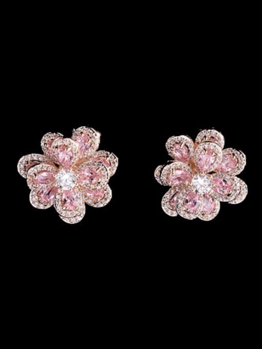 Gold +pink Brass Cubic Zirconia Flower Trend Stud Earring