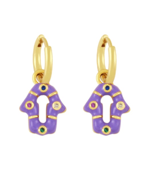 purple Brass Enamel Geometric Vintage Huggie Earring
