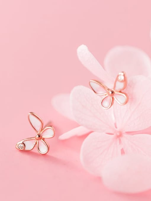 Rosh 925 Sterling Silver Enamel Butterfly Minimalist Stud Earring