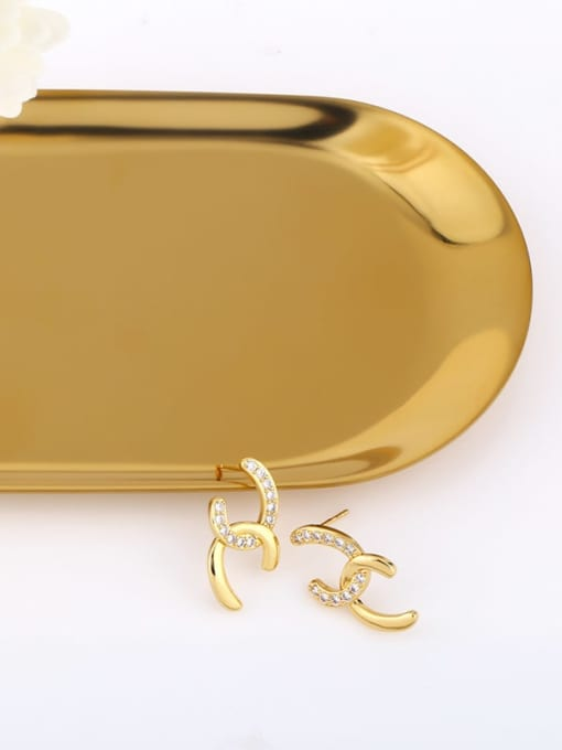 CC Brass Cubic Zirconia Geometric Minimalist Stud Earring 2