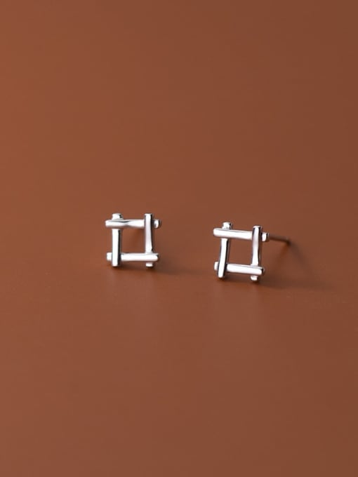 Rosh 925 Sterling Silver Square Minimalist Stud Earring 1