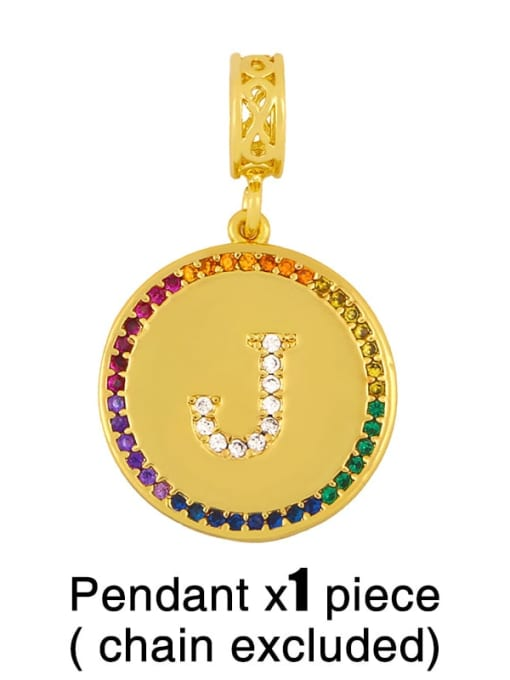 J (excluding chain) Copper Cubic Zirconia Rround Letter Minimalist Pendant