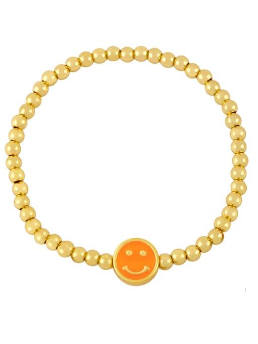 C (Orange) Brass Enamel Smiley Vintage Beaded Bracelet