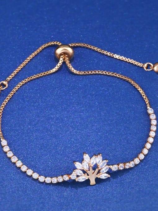 golden Brass Cubic Zirconia Tree Minimalist Adjustable Bracelet