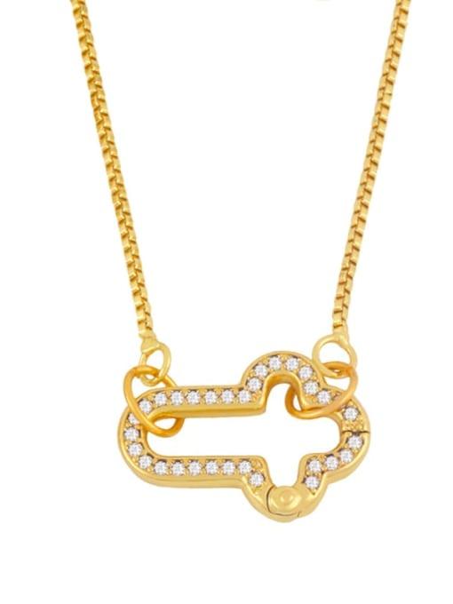 B Brass Cubic Zirconia Irregular Vintage Necklace