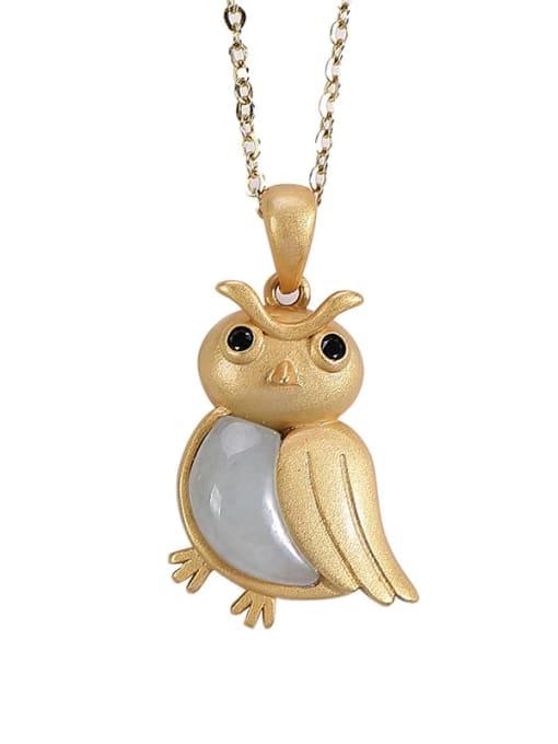 DEER 925 Sterling Silver Jade Cute Bird Pendant