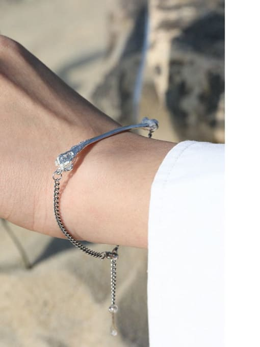 DAKA 925 Sterling Silver Geometric Vintage Link Bracelet 3