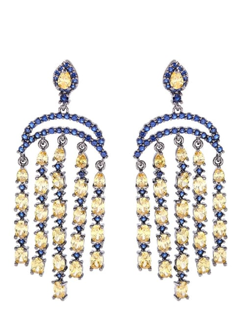 Luxu Brass Cubic Zirconia Tassel Luxury Cluster Earring 2