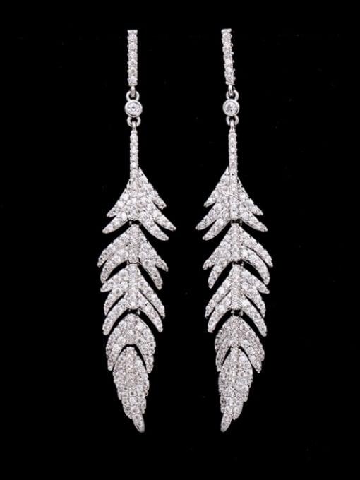 platinum Brass Cubic Zirconia Leaf Vintage Drop Earring