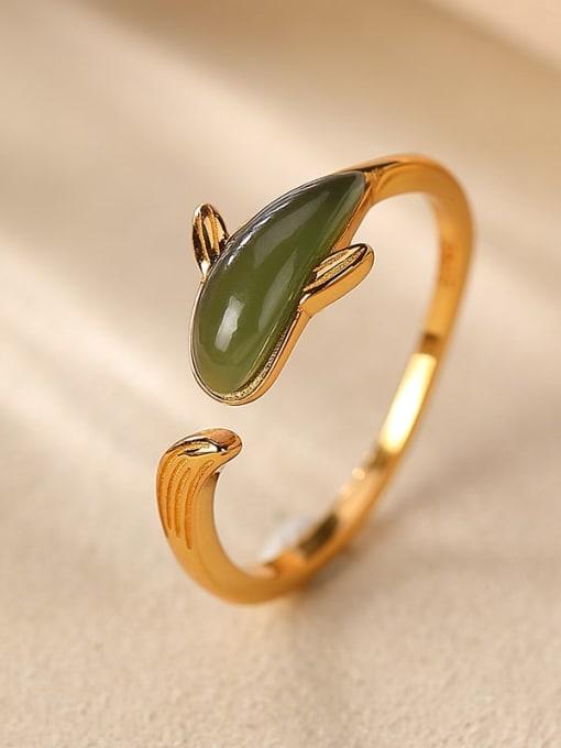 DEER 925 Sterling Silver Jade Dolphin Vintage Band Ring 0