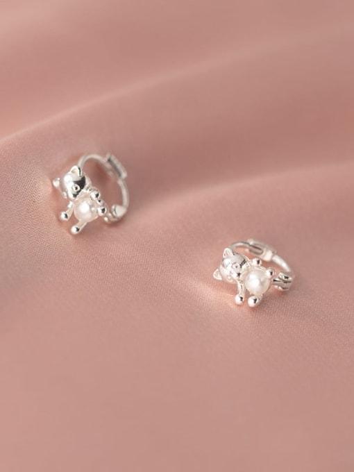 Rosh 925 Sterling Silver Bear Cute Huggie Earring 2
