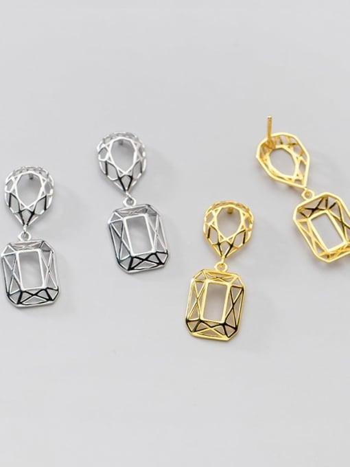 Rosh 925 Sterling Silver Hollow Geometric Vintage Drop Earring 3