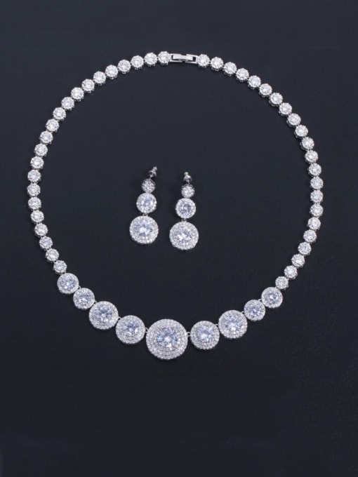 L.WIN Brass Cubic Zirconia Luxury Round  Earring and Necklace Set 3