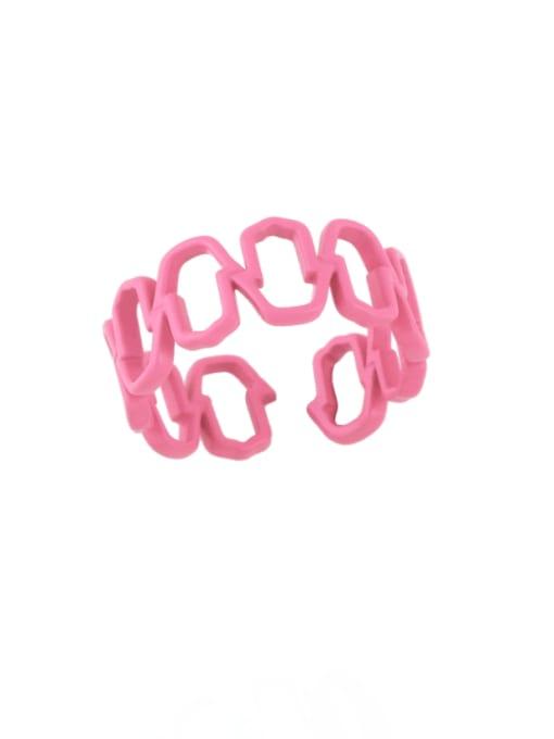 CC Brass Enamel Hollow Geometric Minimalist Band Ring 2