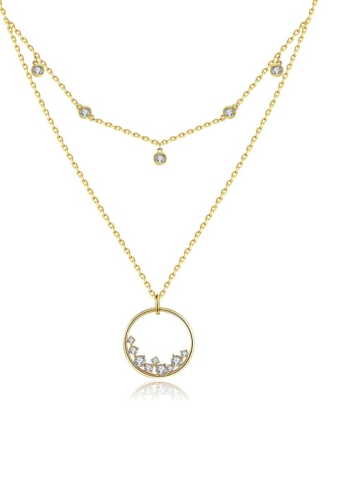BLING SU Brass Cubic Zirconia Geometric Minimalist Multi Strand Necklace
