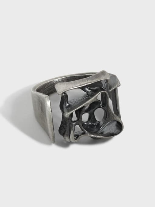 DAKA 925 Sterling Silver Hollow Geometric Vintage Band Ring 0