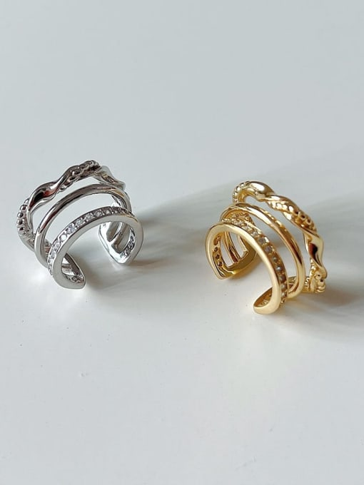 Boomer Cat 925 Sterling Silver Cubic Zirconia Geometric Vintage Clip Earring 2