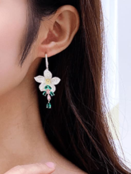 Luxu Brass Cubic Zirconia Flower Luxury Hook Earring 1