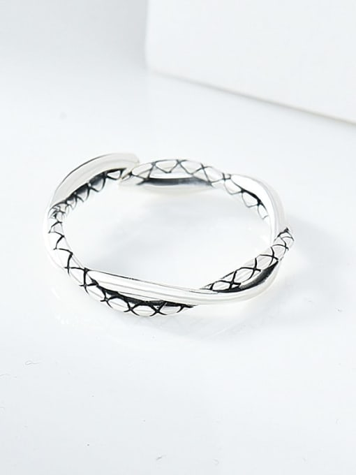 XBOX 925 Sterling Silver Twist Irregular Vintage Band Ring 0